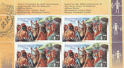 """Canada, 2001, """"great Peace Of Montreal"""" Block Of 4 Stamp = 2 Set Mint Nh"""