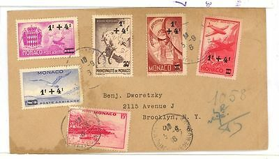 Monaco 5 diff Overprint stamp used on cover to USA 1945