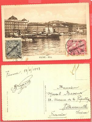 Fiume 2 diff Overprint stamp used on RIVER Post card 1923