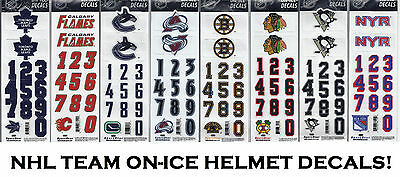 sports shoes 032d2 f4e1c SPORTSTAR OFFICIAL ON-ICE NHL Hockey Helmet Decals! 3M Decal Sticker, Every  Team