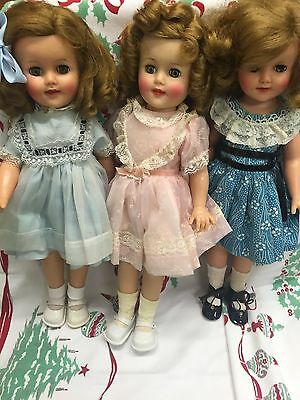 """Awesome Lot Of Three 15"""" Vintage Shirley Temple Dolls With Original Dresses Wow"""