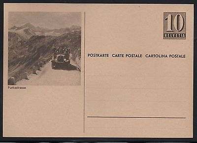 Switzerland 1946 10c Numeral Picture Postal Card Furkastrasse Mint