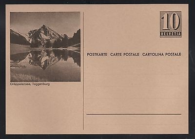 Switzerland 1946 10c Numeral Picture Postal Card Grappelensee Mint