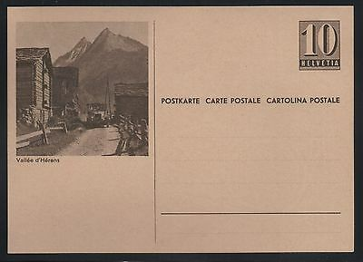 Switzerland 1946 10c Numeral Picture Postal Card Vallee d'herens Mint