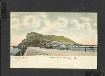 Vintage Colour Postcard Rock from the New Bridge N Gibraltar posted 1911