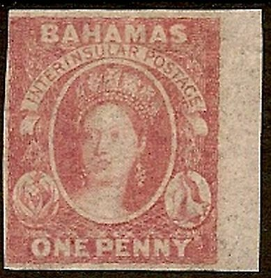 BAHAMAS 1860 1d DULL LAKE SG2  WITH GOOD/HUGE MARGINS JUST TOUCHING TOP LEFT
