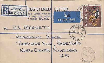 J 526 Zambia PO type registered 1972 Chingola cover to UK; 25n stamp rate
