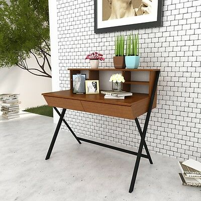 Writing Desk Computer Laptop Table w/ shelf Drawer Study Home Office Workstation