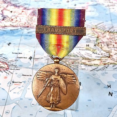 Wwi Us Navy Victory Medal Transport Clasp Bar Full Wrap Brooch Period Issue Ww1