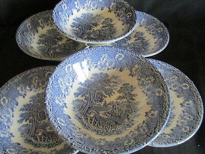 Blue & white transfer ware Country scenes cereal / dessert bowls x 6 EIT