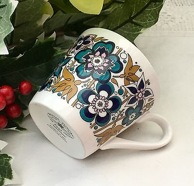 ROYAL TUSCAN FINE BONE CHINA 1970s COFFEE CUP NOCTURNE FUNKY BLUE RETRO DESIGN