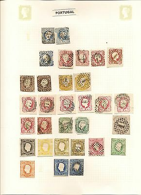 Portugal 1860-1980 Substantial Used Collection On Leaves (1400)