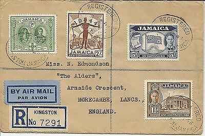 Jamacia 1945 Kgvi New Constution 10/- Sg136/40 On Reg Airmail Covers To Uk (2)