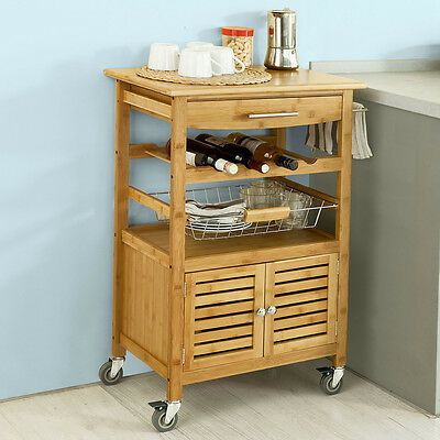 SoBuy Bamboo Kitchen Trolley Storage Cart Cabinet with Louvre Doors,FKW09-N,UK