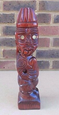 Carved Wooden Maori Tiki Figure with Shell Eyes - Rotorua 1987