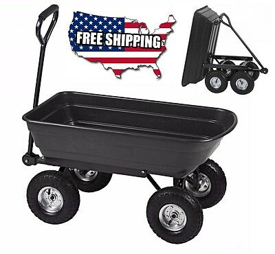 Garden Yard Dump Cart Wheel Barrow Utility Wagon Planting Carrier Heavy Duty