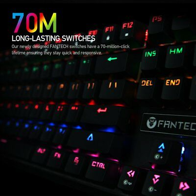 Backlit Mechanical RGB LED 87 Keys Gaming Keyboard Blue Switches Anti-Ghosting U