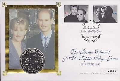 ROYAL WEDDING 1999 £5 POUND  coin cover.Special postmark