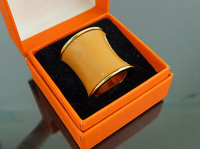 Authentic HERMES Brown Leather x Goldtone Scarf Ring + Box