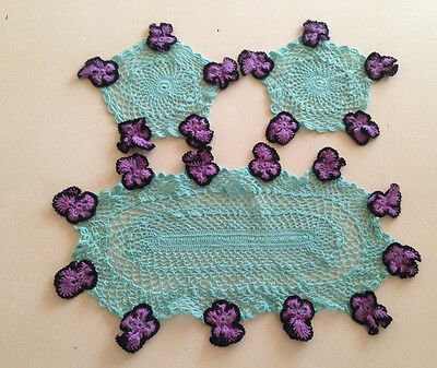 Vintage Hand Crochet Green Doily x 3 Raised Purple Black Pansies