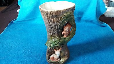 Withermsea Pottery, Eastgate England, Fauna, Large Tree Vase, Squirrel & Deer