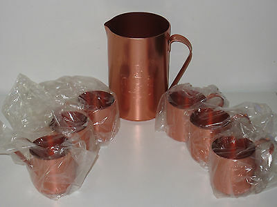Vintage Smirnoff Vodka Moscow Mule Copper Mugs (set of 6) and Copper Pitcher
