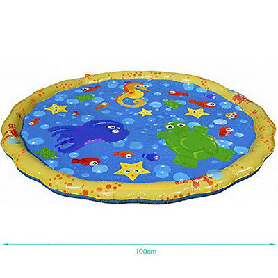 Summer Inflatable Splash Round Water Mat Watering Sprinkler Kids Garden Fun Game