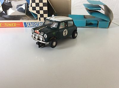 Vintage Scalextric Rally Mini Cooper Green C7 Boxed