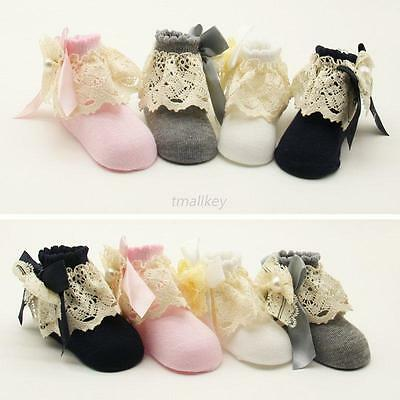 Baby Girl Anti-slip Socks Princess Lace Slipper Shoes Sock 0-12 Month Sole Crib