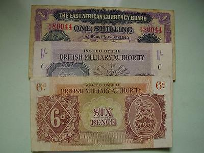 1943  East Africa 1/-, British Military Authority 1/- & 6d Banknote VFine's (3)
