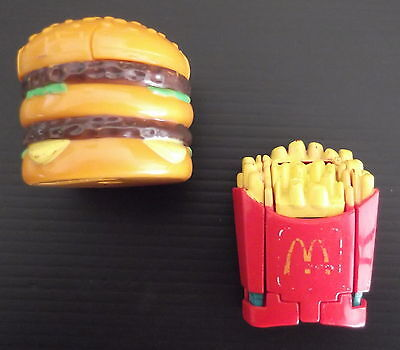 Vintage 1990 McDonalds Happy Meal Toys Transformers Big Mac & Fries
