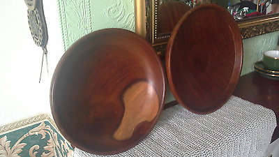 good pairing-hand made Welsh turned wood bowl -Siop Fach Crefft + shallow bowl