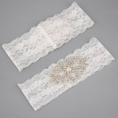 BEST SELLING Vintage CRYSTAL WEDDING GARTER IVORY Lace Bride, Hot Good choice