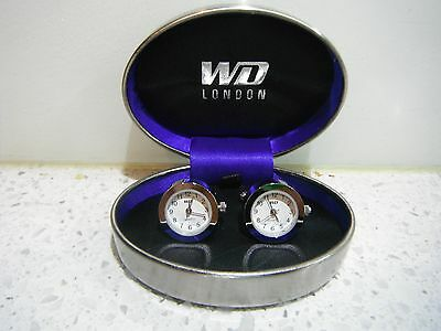Quartz Functional Silver Clock Novelty Cuff Links By Wd Of London