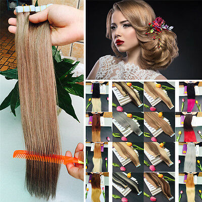 7A 40-65cm EXTENSIONS DE CHEVEUX PU TAPE IN BANDE ADHESIVE NATURELS 30g-70g