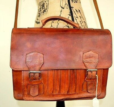 Vintage Tan Brown Distressed Leather Satchel