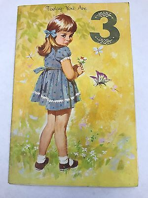 Happy Birthday Card 3 Year Old: Vintage - 1969 - Used