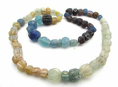 Viking Glass Beaded Necklace - Rare Wearable Historic Ancient Artifact - F342