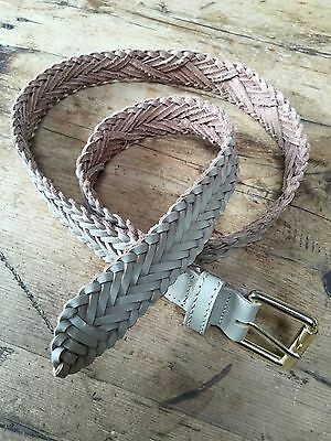 """Preloved 1980'S Real Leather Braided 1 1/8"""" Wide Belt - Small"""