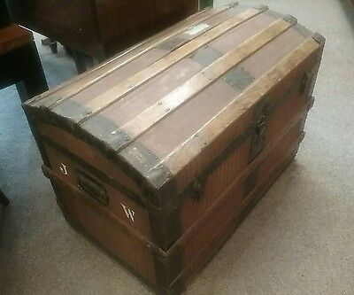 An Antique Vintage Domed Top Trunk Blanket Box Travel Storage Sea Chest Wooden