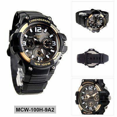 Casio Analog Casual Watch Chronograph Black Mens MCW-100H-9A2