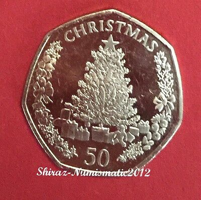 New 50P Christmas Coin Gibraltar 2016 UNC Fifty Pence