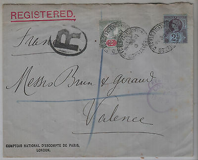 Gb , Queen Victoria Registered Cover To Valence
