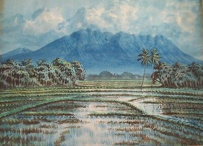 EZEH? SIGNED MID 20thC ORIGINAL S.E.ASIAN WATERCOLOUR - PADDY FIELDS & MOUNTAINS