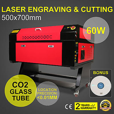 60W CO2 USB Port Laser Engraving Engraver Cutter Woodworking 700x500mm Carving