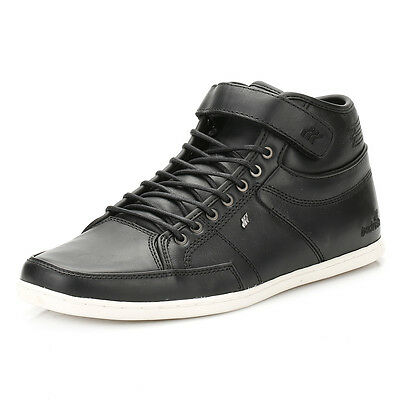 57c220ca3 Box Fresh Mens Black Swich Premium Leather Trainers Lace Up Casual Shoes  Sports