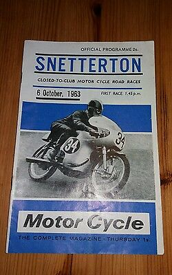 1963 SNETTERTON 6th October 1963 Motor Cycle Road Races programme