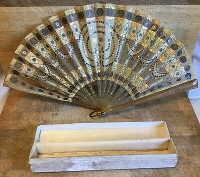 "Antique Lace Fan with Faux Amber Mounted Handles 13"" Boxed"