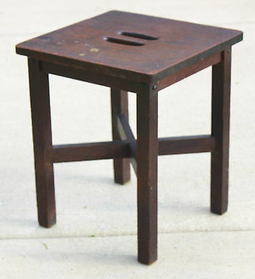 Antique Stickley Era Mission Arts & Crafts Oak Stool circa 1910's