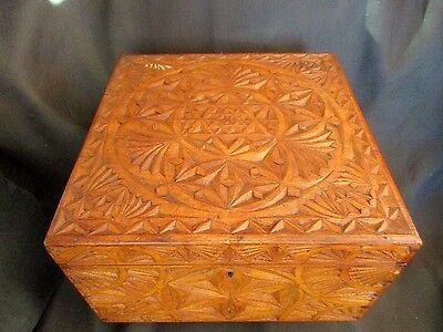 Carved Antique Wooden Box / Chip Carving Box / Star Of David  Design
